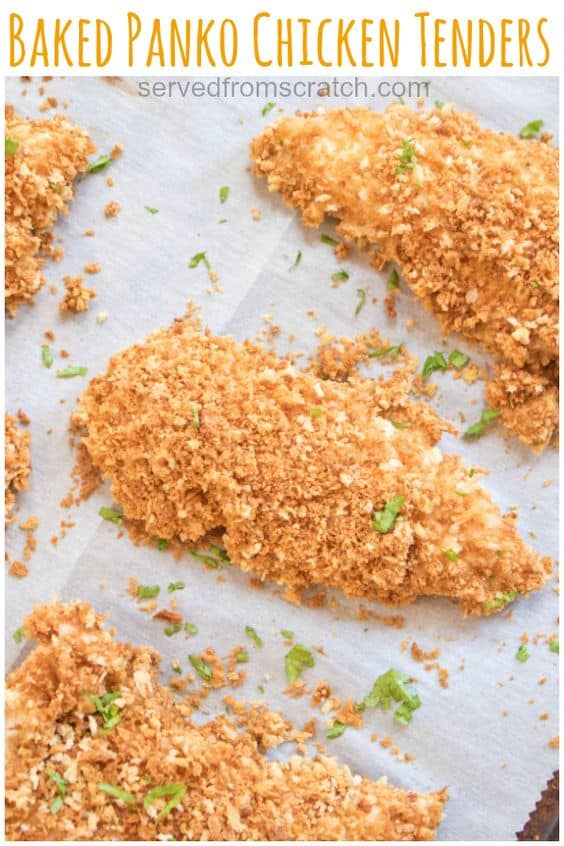 crispy baked panko crusted chicken tenders on parchment paper