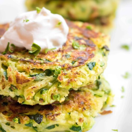 These Panko Parmesan Zucchini Fritters are easy to make, healthy, and the perfect way to use those garden fresh zucchinis!