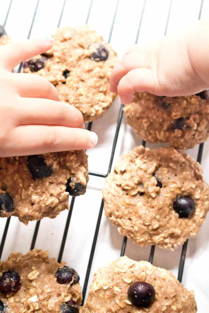 baked blueberry oatmeal cookies with kid and toddler hands grabbing cookies