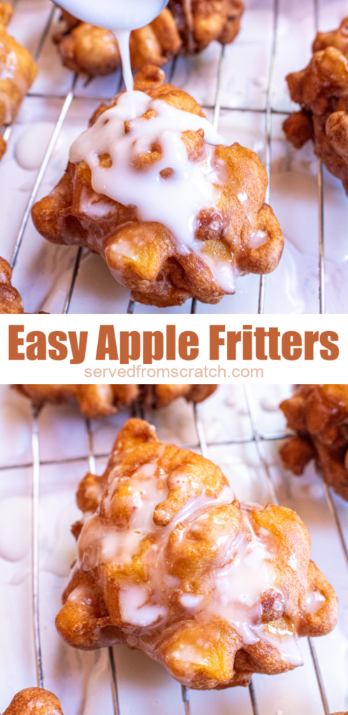 glazed apple fritters on a cooling rack and pinterest text.