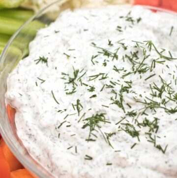 Make your own Dill Onion Dip From Scratch by using homemade mayonnaise and have a delicious dip for all your favorite veggies, chips, and snacks!