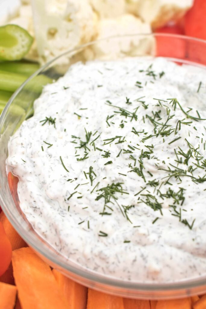 a bowl of dill onion dip