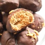 These Copycat Butterfinger Candy Bites are a healthier, corn syrup free, easy to make, delicious little bite of your favorite candy bar!