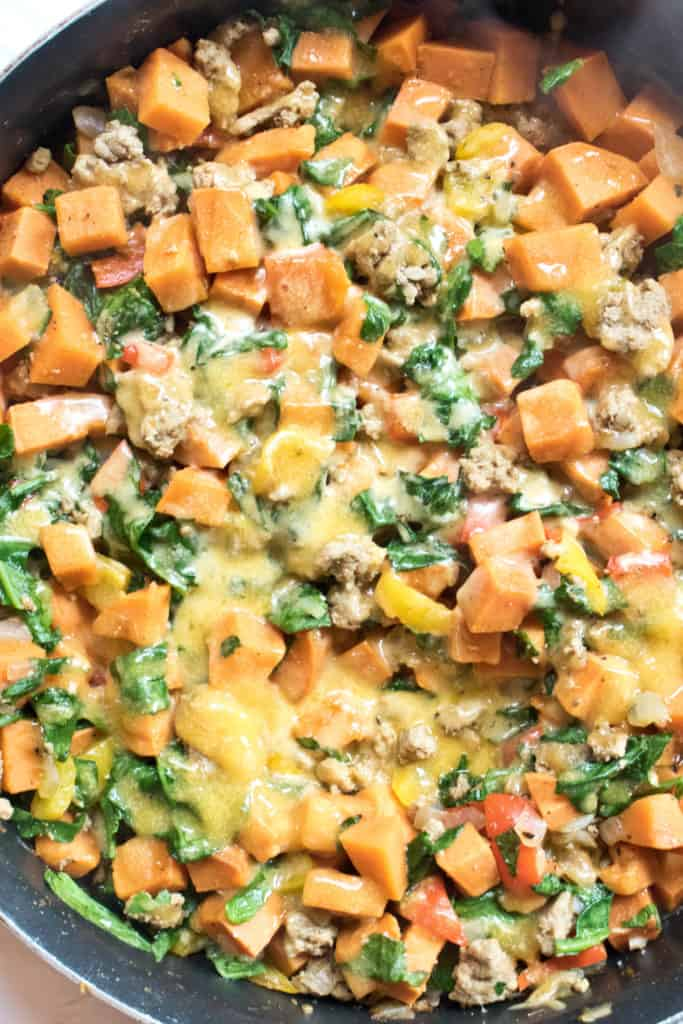 This Sweet Potato Turkey Skillet is fast, easy to make, and packed full of vegetables for a super healthy one pan dinner perfect for Fall!