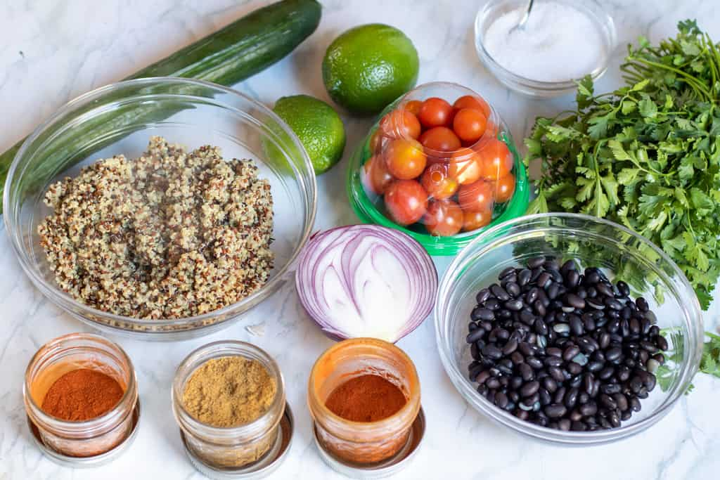 ingredients for black bean quinoa salad on a counter