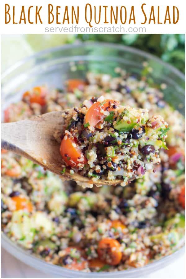 a bowl of quinoa black bean salad with Pinterest pin text.