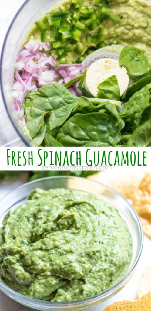 a food processor with ingreddients and a bowl of guacamole and Pinterest pin text.