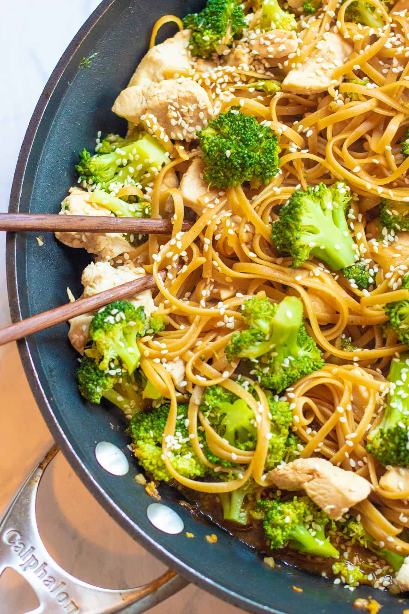 Chicken And Broccoli Sesame Noodles Served From Scratch