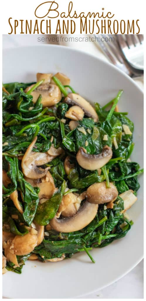 a bowl of sauteed spinach and mushrooms with Pinterest pin text.