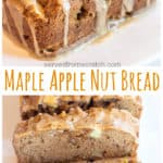 This Maple Apple Nut Bread is sweetened by maple syrup, easy to make, and has a sugar maple glaze that's to die for. It's perfect for your next brunch! #mapleapplenutbread #maplebread #recipe #mapleglaze #easy