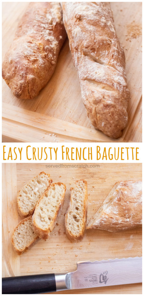Two baguettes on a cutting board and then a baguette sliced and Pinterest pin text.