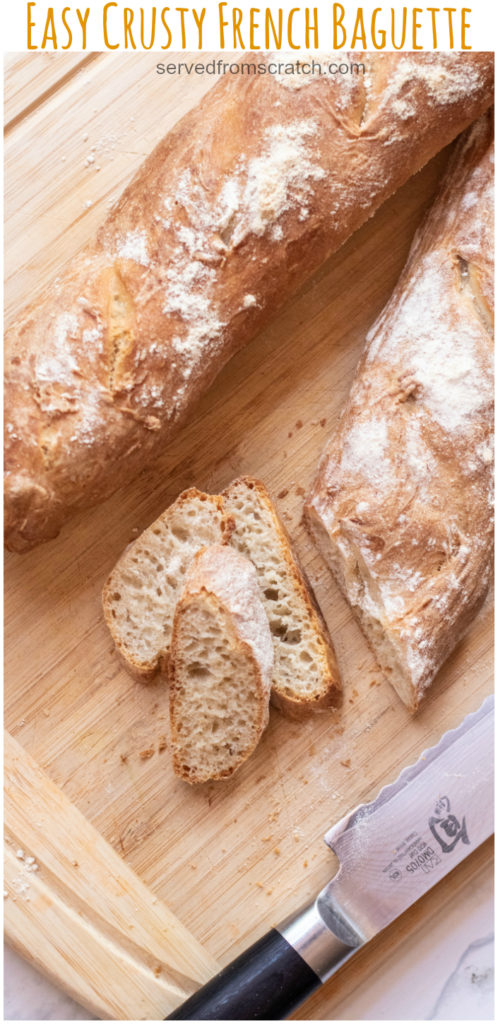 a fresh baked baguette and once sliced with Pinterest pin text.