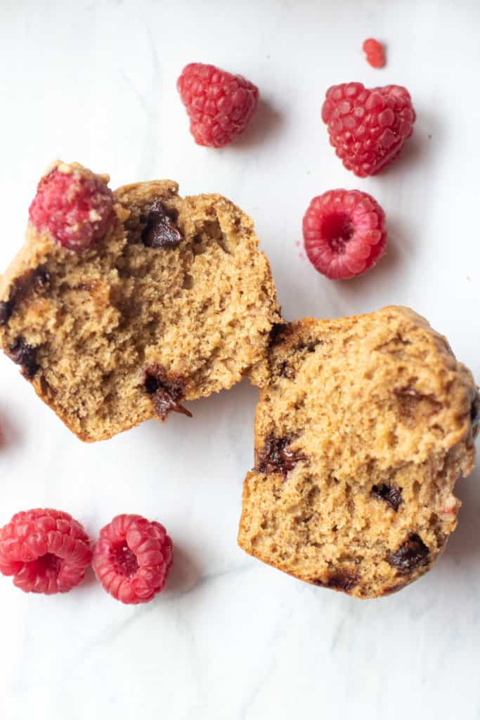 whole wheat raspberry chocolate chip muffin split in half