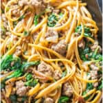beef and spinach noodles in cast iron