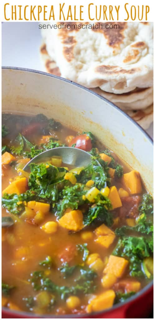cooked chickpeas, sweet potato, and kale in a dutch oven with a ladle and Pinterest pin text.