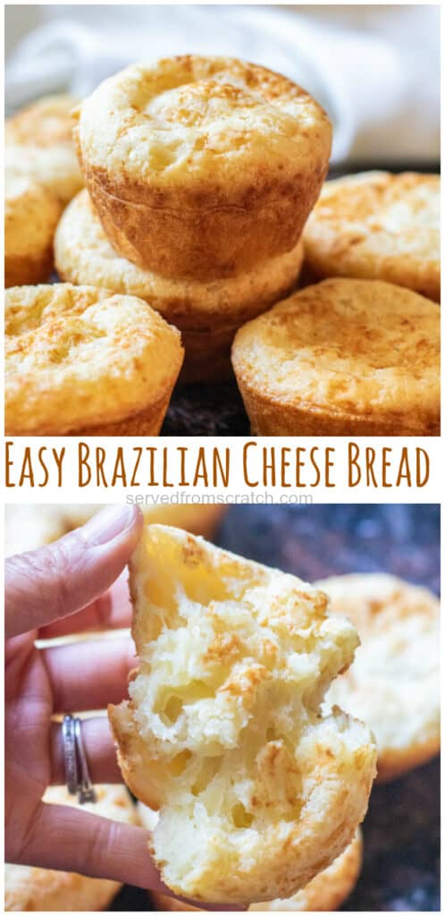 stacked Brazilian cheese bread with Pinterest pin text.