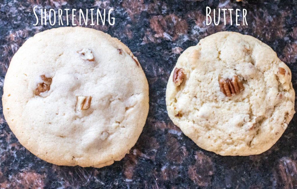 two cookies one baked with shortening and one with butter