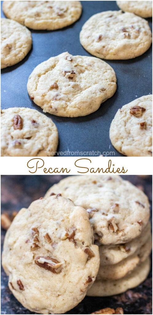 pecan sandies on cookie sheet and stacked with Pinterest pin text.