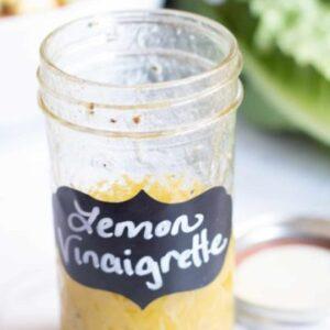 a jar of lemon vinaigrette.