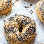 baked everything bagels from scratch on a baking sheet