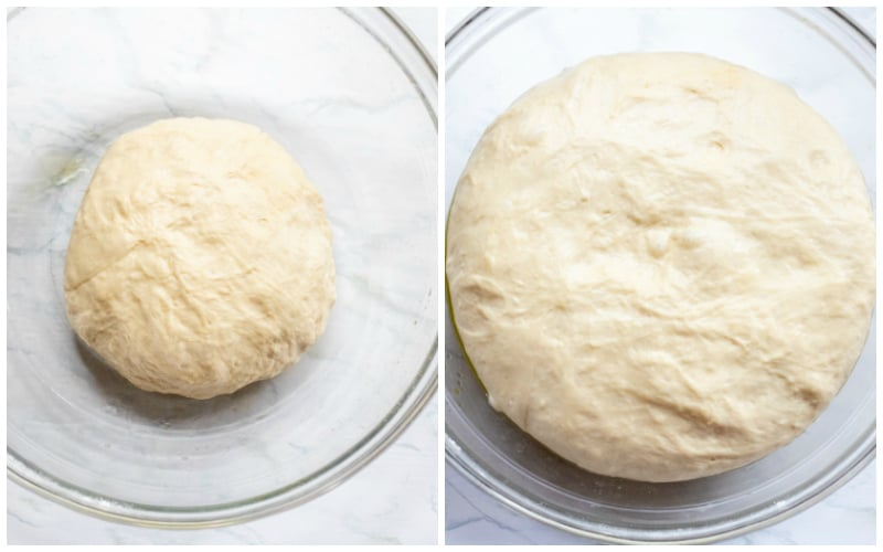 pre proofed and proofed bagel dough side by side