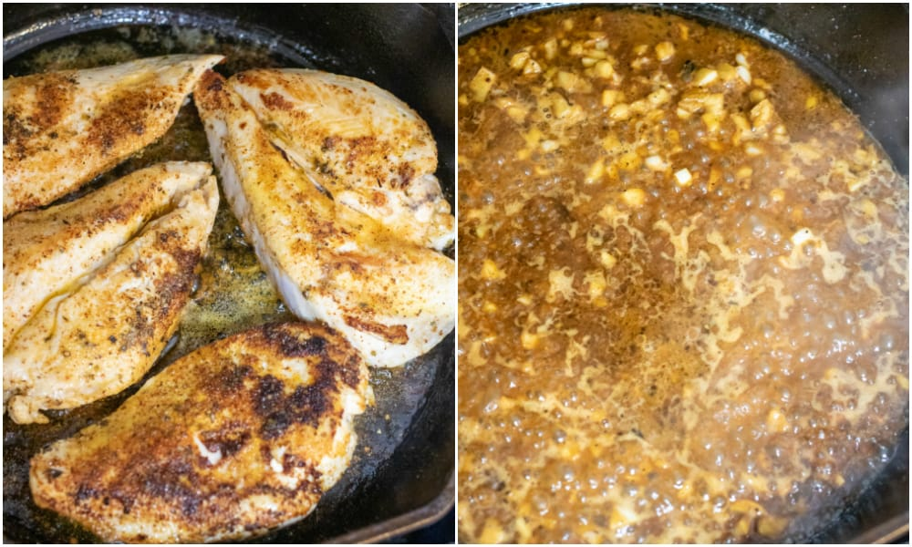 chicken sauteed in a pan and butter and garlic sauteing