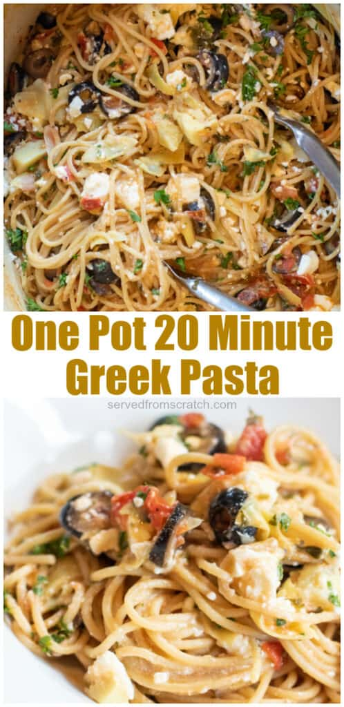 ingredients for one pot greek pasta and cooked greek pasta