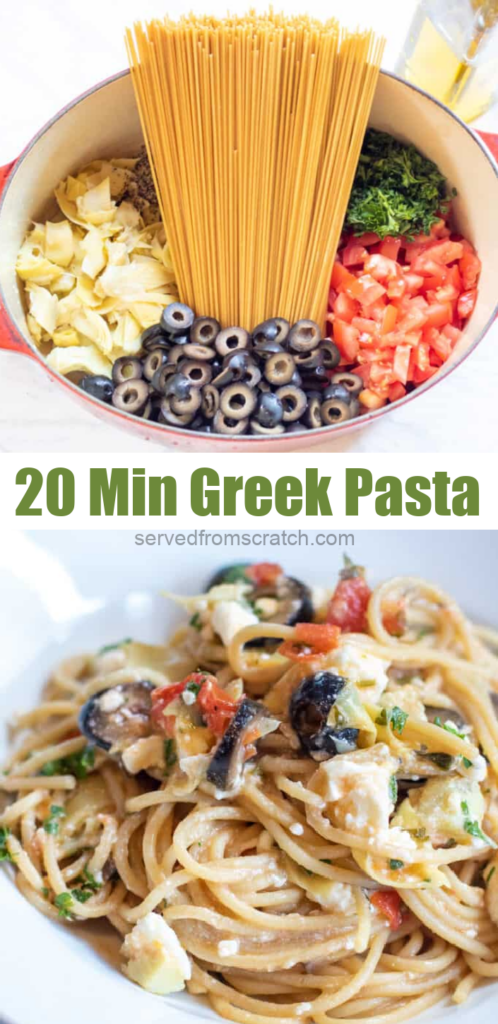 pasta, olives, tomatoes, artichokes in a dutch oven and then a plate of it cooked topped with feta cheese