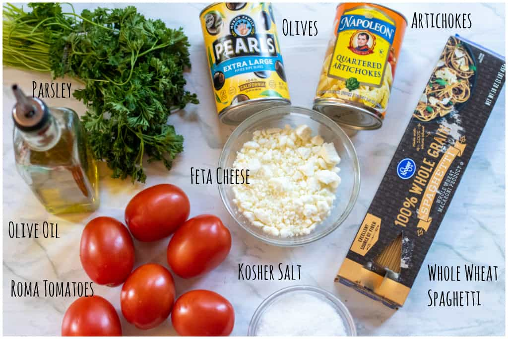 ingredients for one pot 20 minute greek pasta on the counter