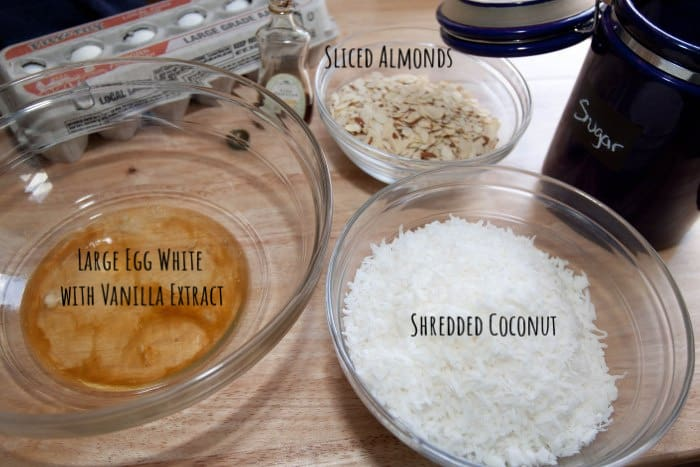 almond coconut macaroon ingredients on table