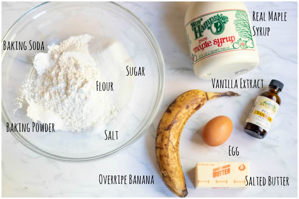 bowl of flour, sugar, baking soda and powder, banana, egg, butter, maple, vanilla extract