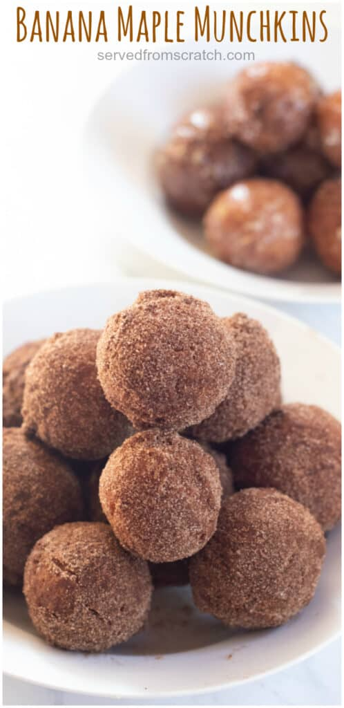 a bowl of sugar coated donut holes with Pinterest pin text.