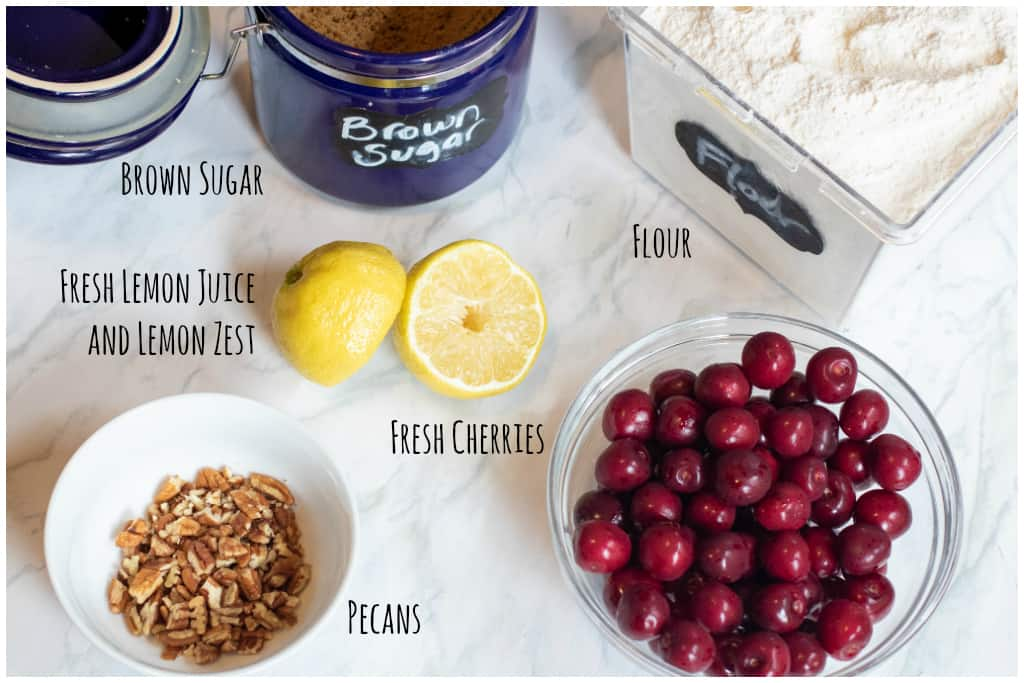brown sugar, flour, lemons, pecans, and fresh cherries