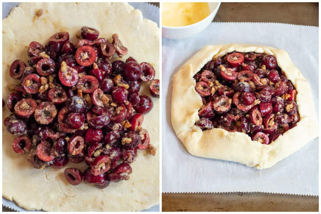cherry filled in center of pie dough and then shaped uncooked galette