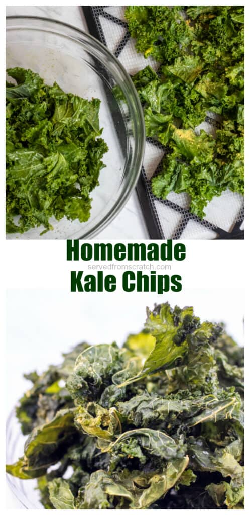kale chips on a dehydrator tray with Pinterest pin text.