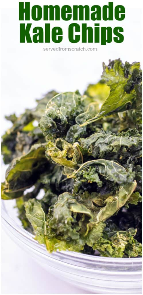 kale chips in a bowl with Pinterest pin text.