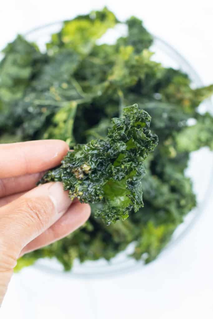 crispy kale chip held in a hand