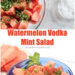 diced watermelon in a bowl topped with mint