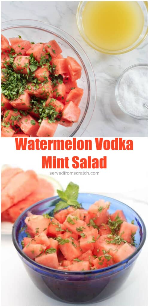 diced watermelon in a bowl topped with mint with Pinterest pin text.