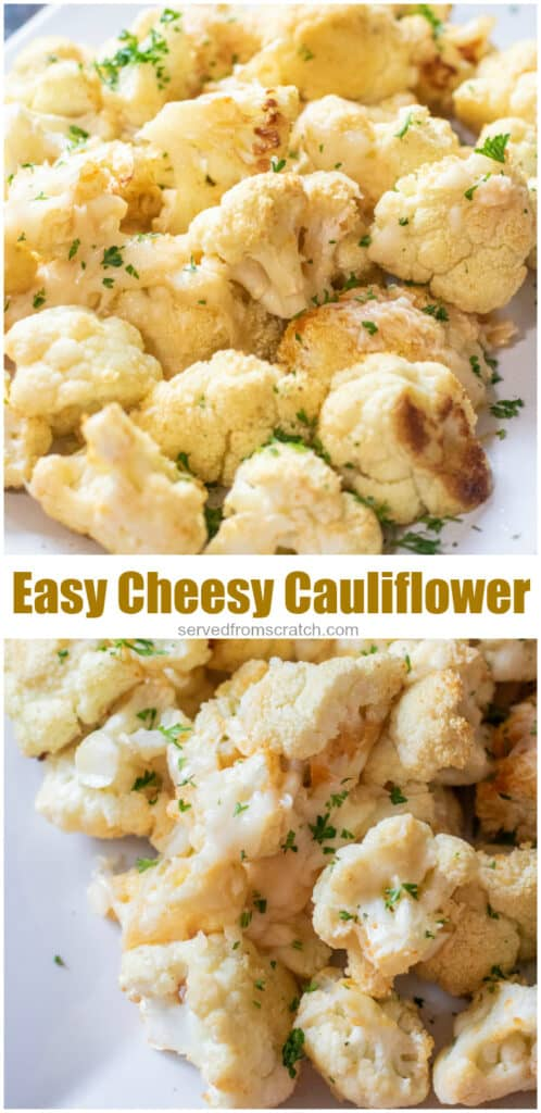 plates of baked cheesy cauliflower with Pinterest pin text.