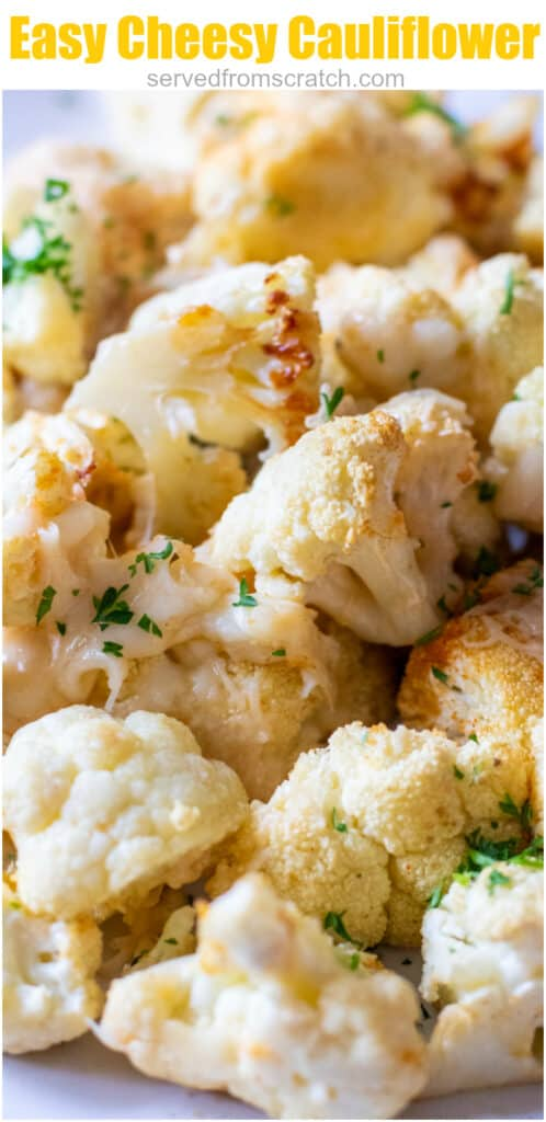 a close up of a plate of baked cheesy cauliflower