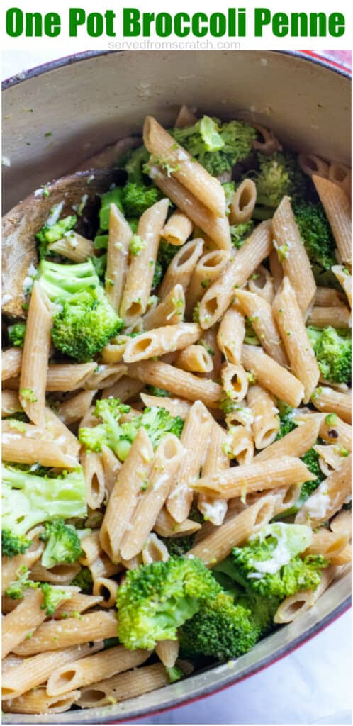 a pot of penne pasta with broccoli with Pinterest pin text.