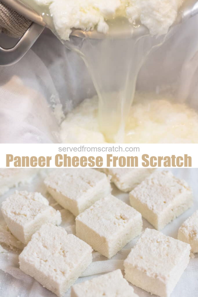 cheese being poured in a cheese cloth and cut paneer cheese.