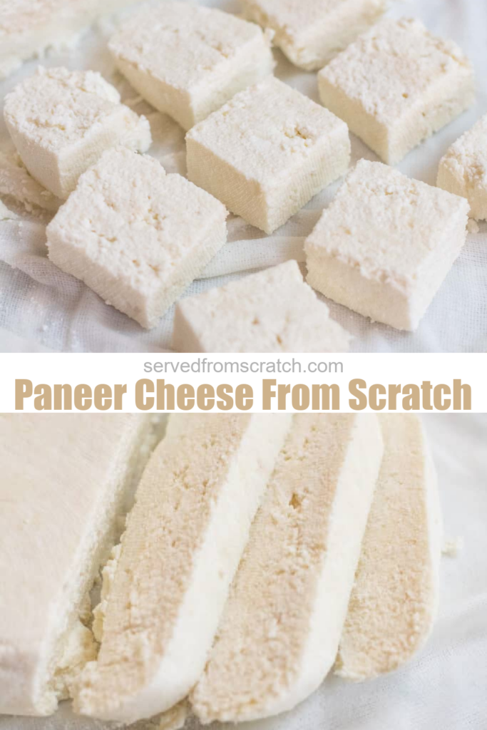 sliced and cubed paneer cheese and pinterest text.