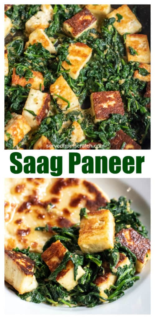 spinach in a pan with seared paneer and in a plate with naan