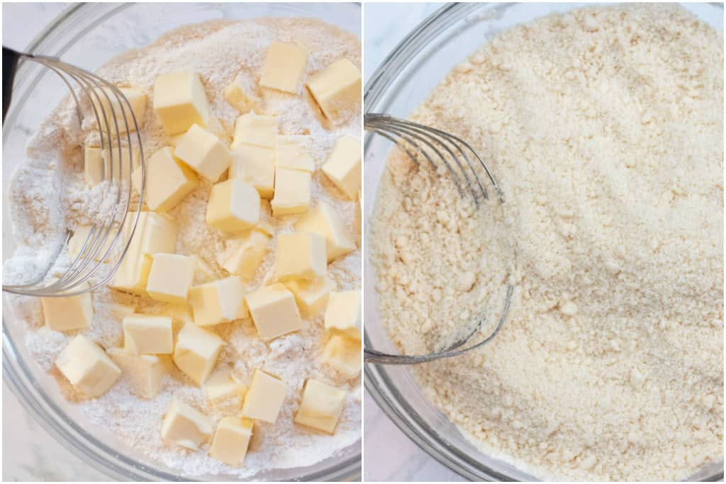 two bowls with flour and sugar, one with cubed butter and one with butter cut in