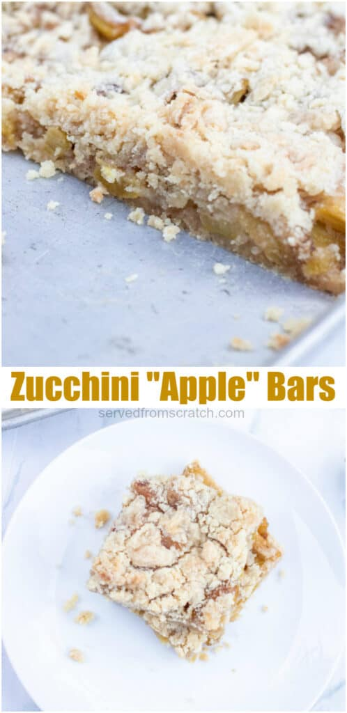 a pan of zucchini bars and a plate of bars with Pinterest pin text.