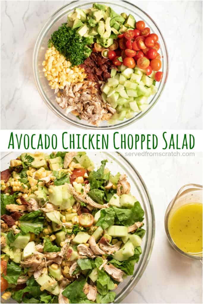 a large bowl of salad and large mixed bowl of salad with Pinterest Pin Text.