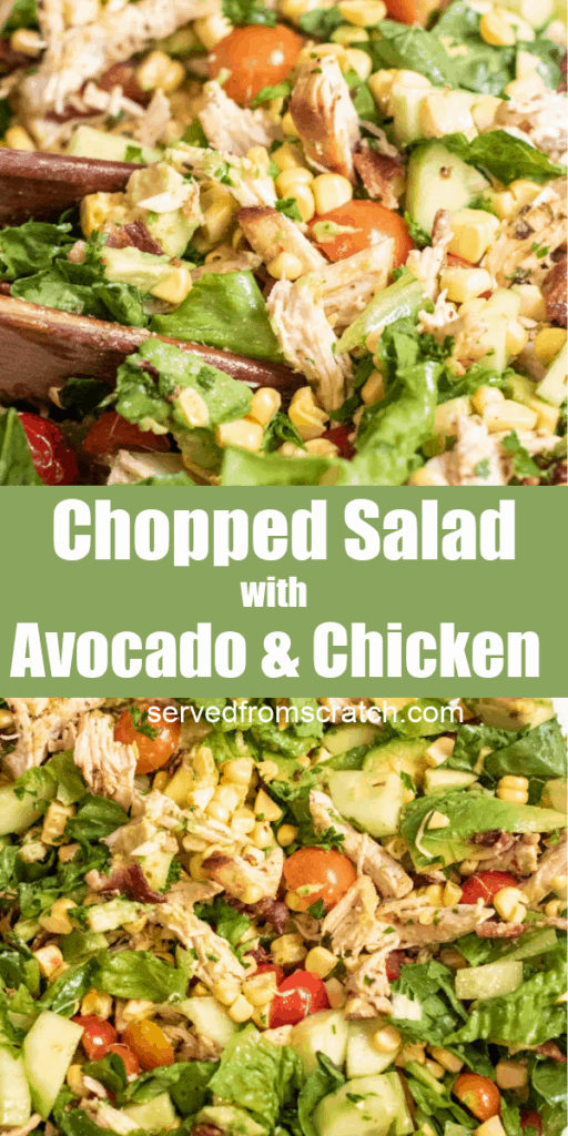 overhead of a large bowl of chicken chopped salad with Pinterest Pin Text.