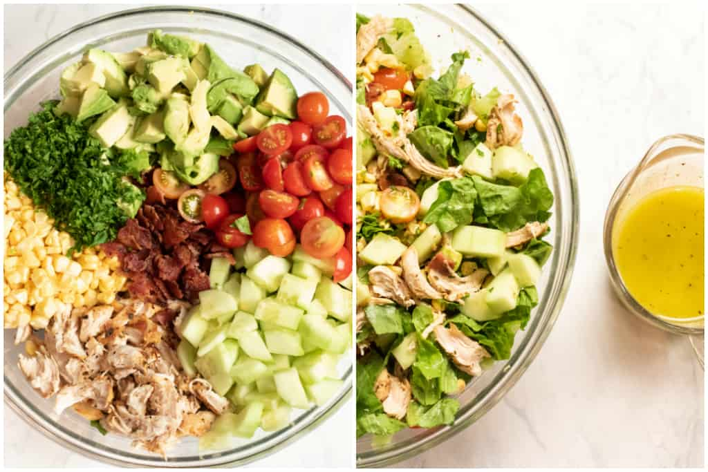 bowls of salad ingredients and mixed and then vinaigrette in a dish
